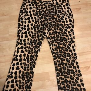 Leopard ankle dress pant silk type